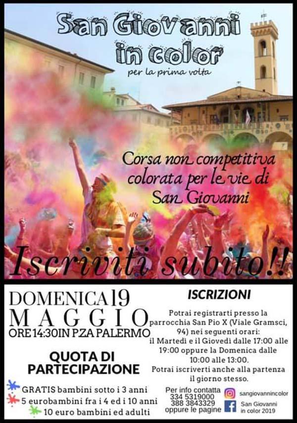 Manifesto San Giovanni In Color 2019 - Corsa Colorata a San Giovanni Valdarno