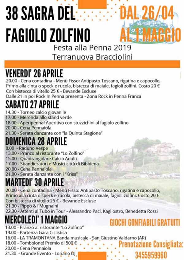 Sagra del Fagiolo Zolfino 2019 - Festa della Penna Terranuova Bracciolini - Locandina