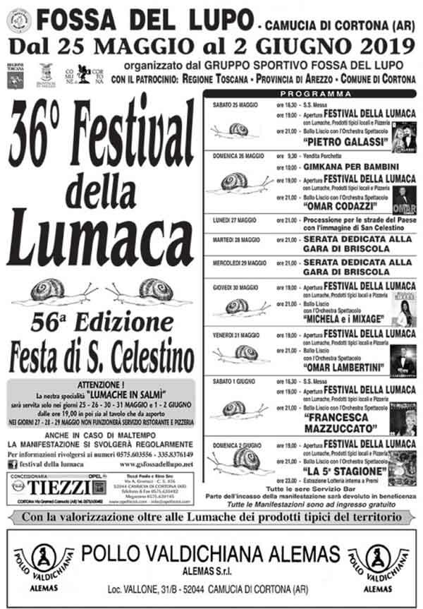 36° Festival della Lumaca Camucia di Cortona Edizione 2019 - Manifesto