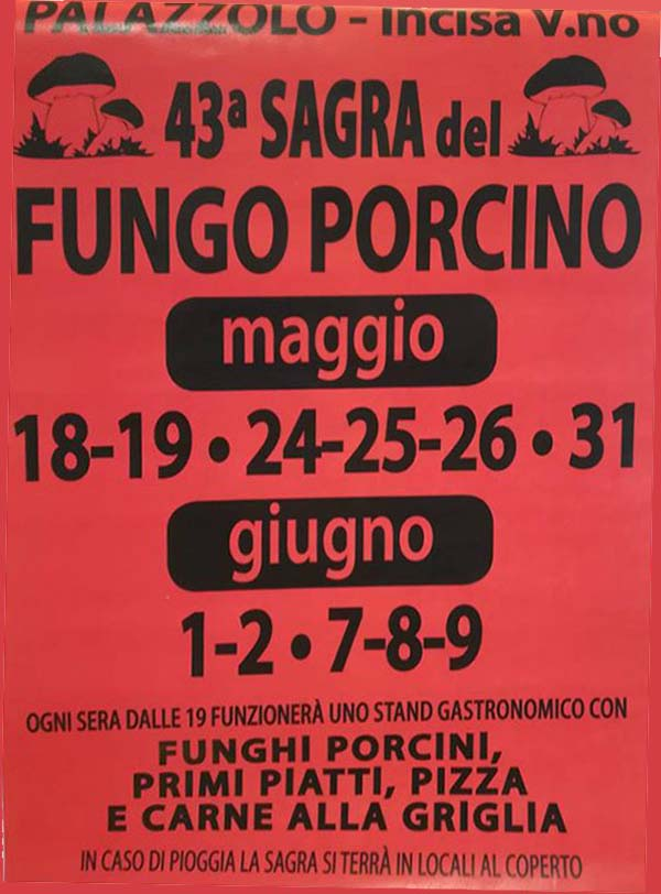 Sagra del Fungo Porcino 2019 a Palazzolo Incisa Valdarno - Manifesto 43° Edizione