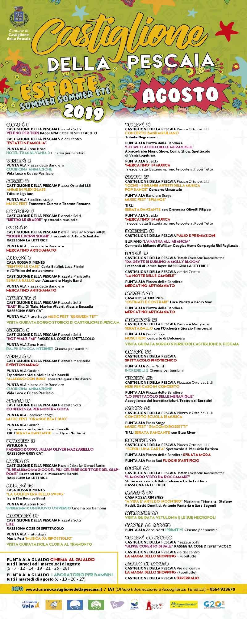 Programma Estate 2019 a Castiglion Della Pescaia Eventi e Feste - Agosto