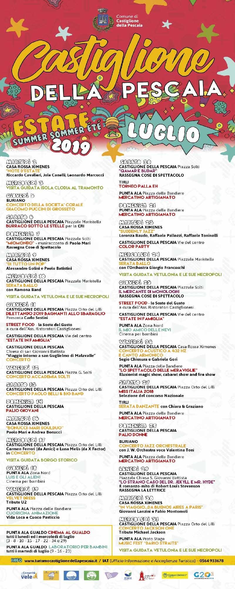 Programma Estate 2019 a Castiglion Della Pescaia Eventi e Feste - Luglio