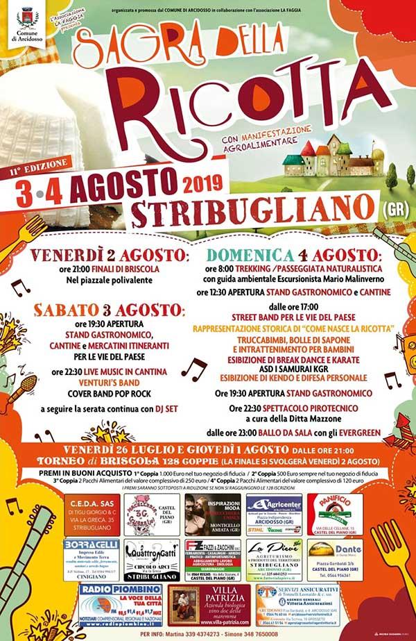 Sagra della Ricotta 2019 - Programma 11° Edizione Stribugliano Arcidosso