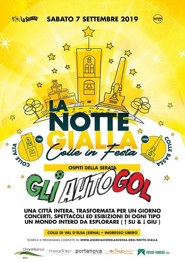 Locandina Notte Gialla 2019 a Colle Val D'Elsa - Colle in Festa