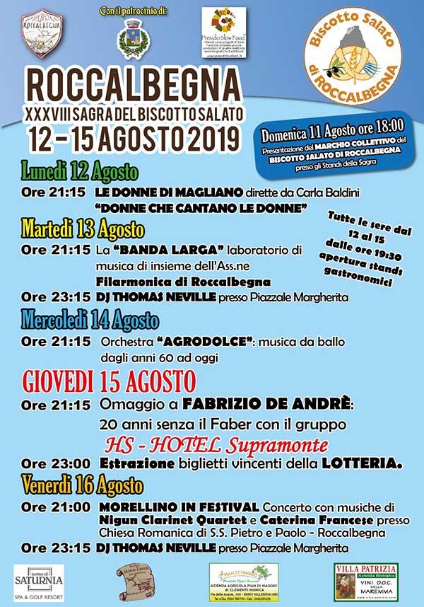 Manifesto Sagra del Biscotto Salato a Roccalbegna 2019 -38° Edizione