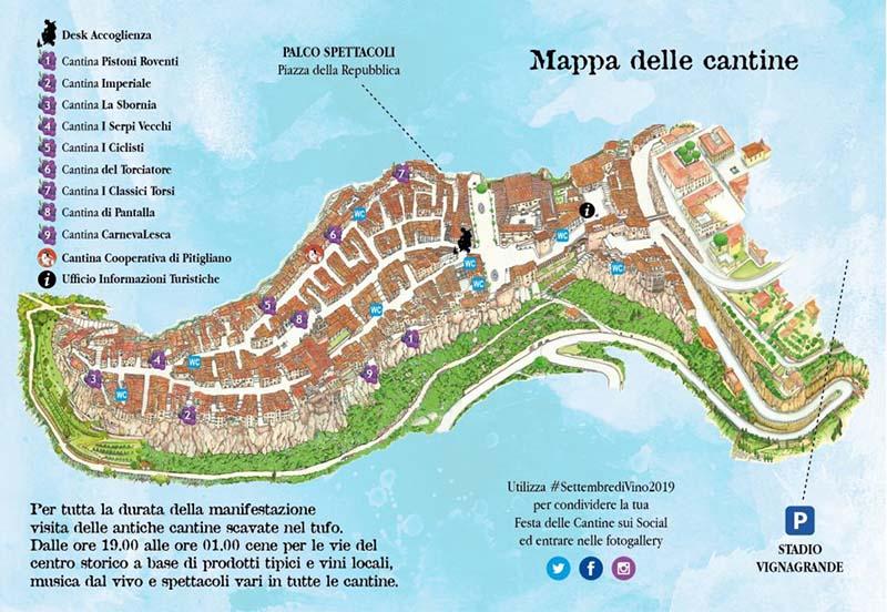Mappa delle Cantine Settembre Di Vino 2019 a Pitigliano - Festa della Cantine