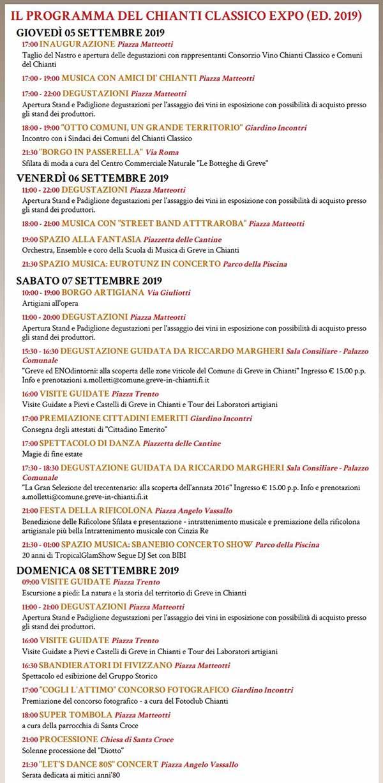 Programma Expo del Chianti Classico 2019 - Greve in Chianti