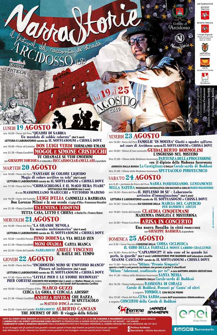 Programma Narrastorie il Festival del Racconto di Strada ad Arcidosso 2019 - Simone Cristicchi