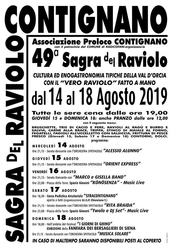 Programma Sagra del Raviolo a Contignano 2019 - 49° Edizione