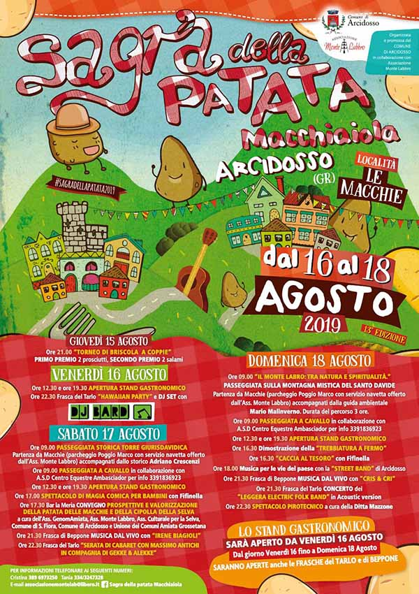 Volantino Sagra della Patata Macchiaiola Arcidosso 2019 16-19 Agosto