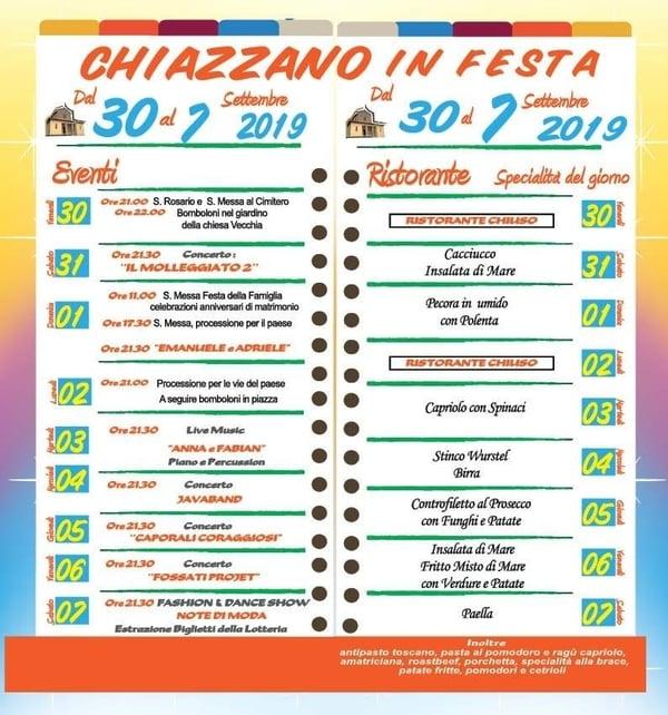 Chiazzano Festa 2019