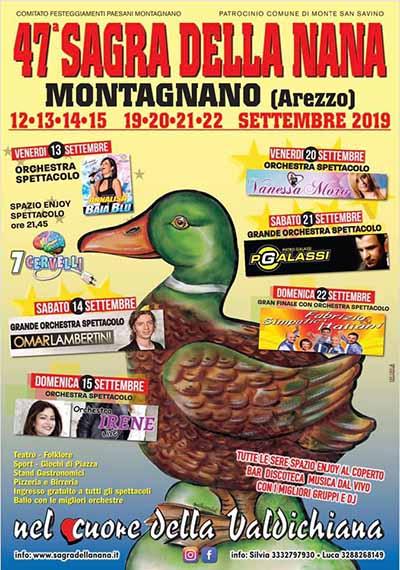 Locandina Sagra della Nana 2019 Montagnano - Monte San Savino
