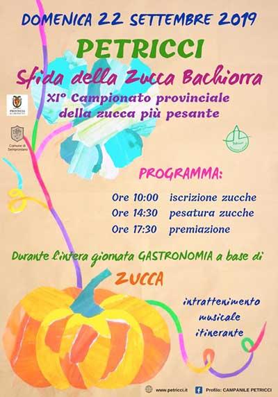 Locandina Sfida della Zucca Bachiorra 2019 a Petricci Comune di Semproniano