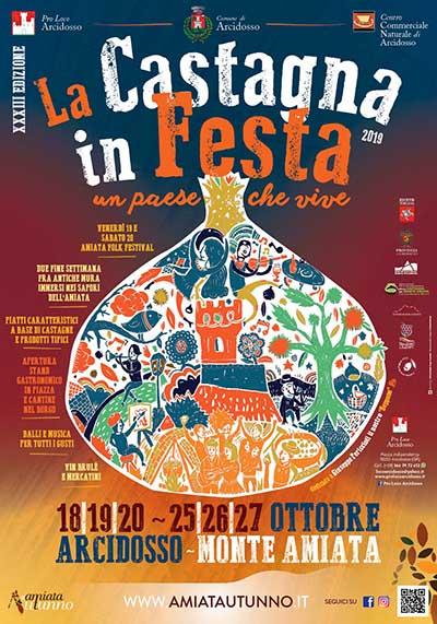 Manifesto La Castagna in Festa 2019 ad Arcidosso - Un Paese che vive Monte Amiata