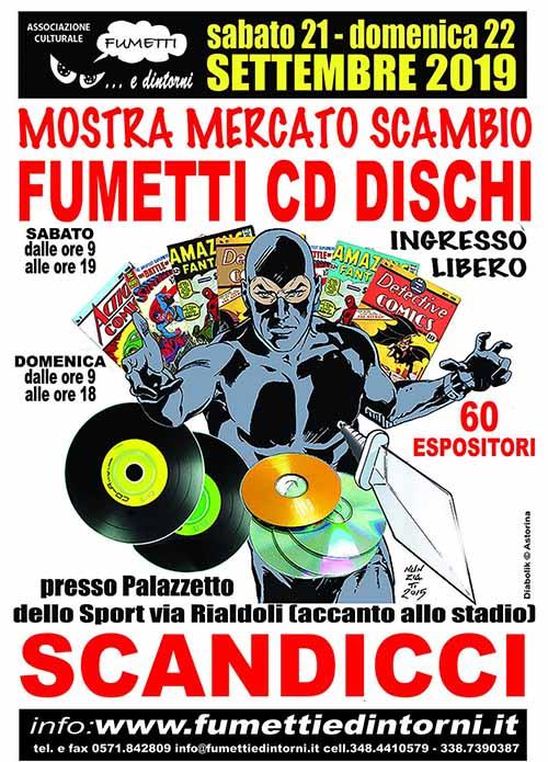 Manifesto Mostra Mercato Fumetti CD Dischi a Scandicci - Settembre 2019