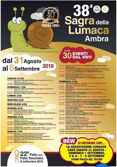Manifesto Sagra della Lumaca 2019 ad Ambra - 38° Edizione