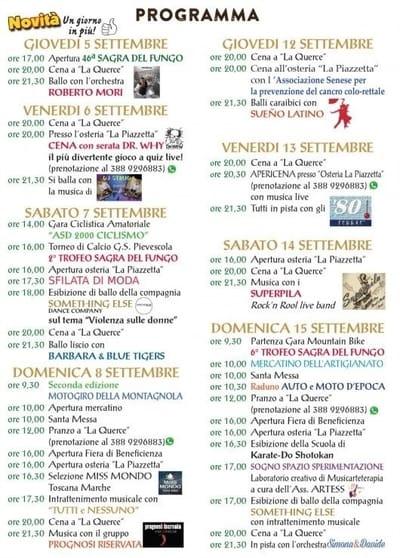 Programma Sagra Pievescola 2019