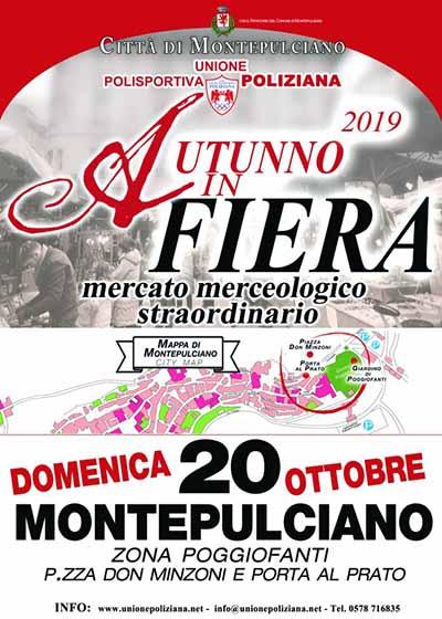 Locandina Autunno in Fiera a Montepulciano 2019 - Mercato Merceologico Straordinario