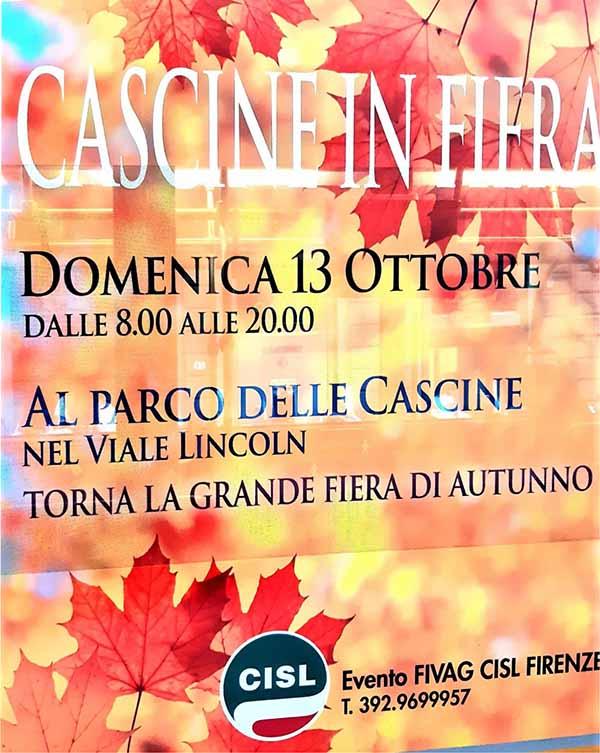 Locandina Cascine in Fiera 2019 a Firenze - Domenica 13 Ottobre