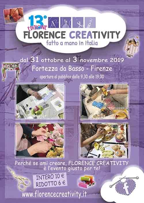 Locandina Florence Creativity 2019 Fortezza da Basso - 31 ottobra a 3 novembre