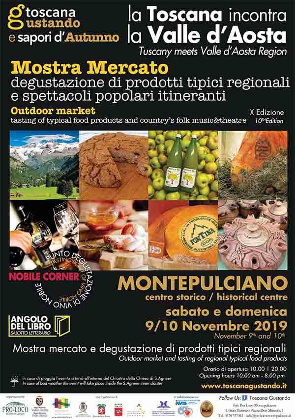 Manfesto Toscana Gustando 2019 Montepulciano - La Toscana Incontra la Valle d'Aosta
