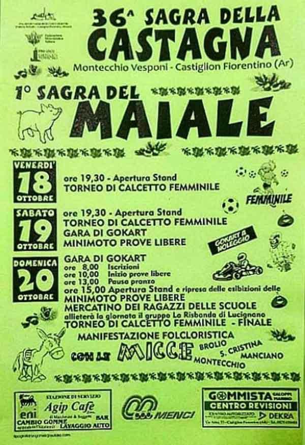Manifesto 36° Sagra delle Castagne -1° Sagra del Maiale a Montecchio Vesponi Castiglion Fiorentino