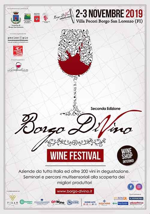 Manifesto Borgo DiVino 2019 a Borgo San Lorenzo Villa Pecori