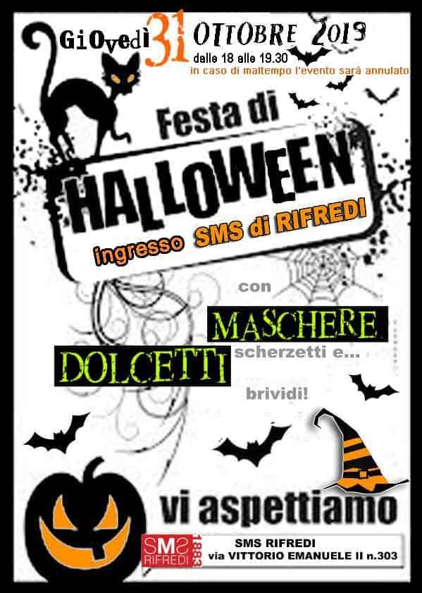 Manifesto Festa di Halloween 2019 a Firenze Rifredi - SMS di Rifredi