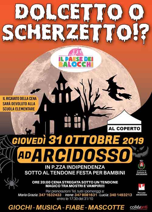 Manifesto Festa di Halloween ad Arcidosso 31 Ottobre 2019