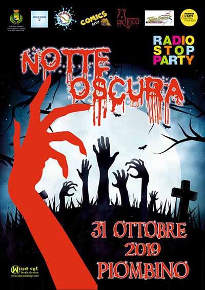 Manifesto Notte Oscura 2019 la Festa di Halloween a Piobino - 31 Ottobre 2019