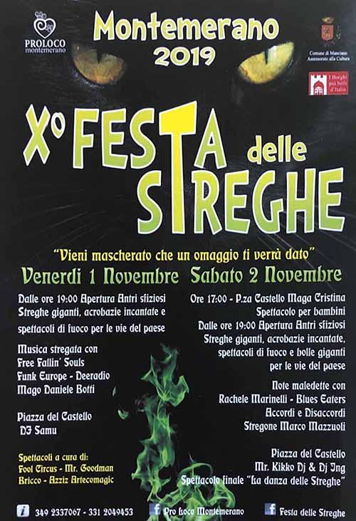 Programma Feste delle Streghe 2019 a Montemerano Manciano 1 e 2 Novembre - 10° Edizione Festa di Halloween
