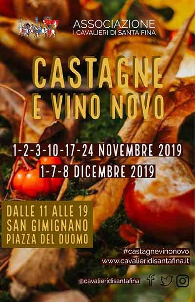 Manifesto Castagne e Vino Novo a San Gimignano - Edizione 2019 Piazza Del Duomo