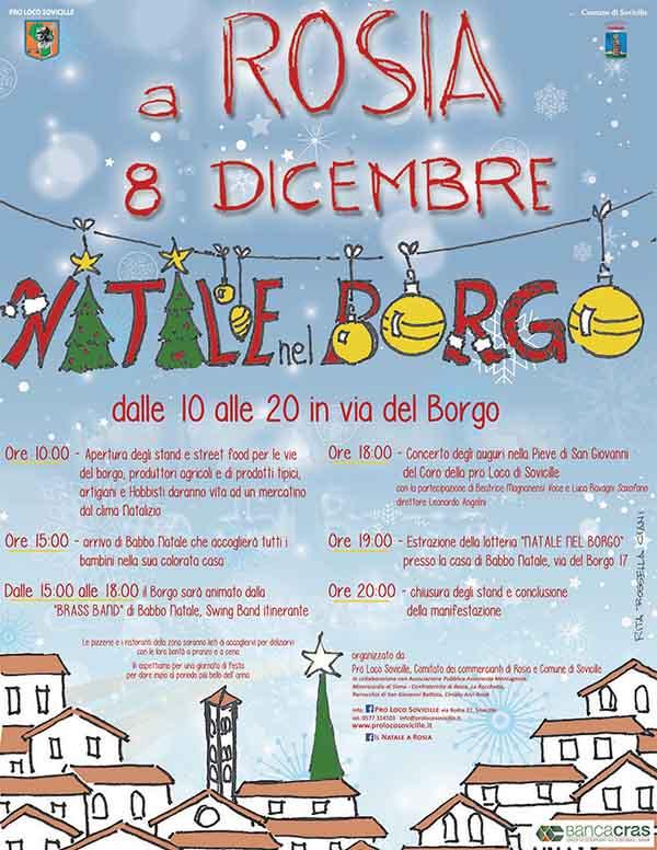 Manifesto Natale nel Borgo a Rosia Sovicille - 8 Dicembre 2019