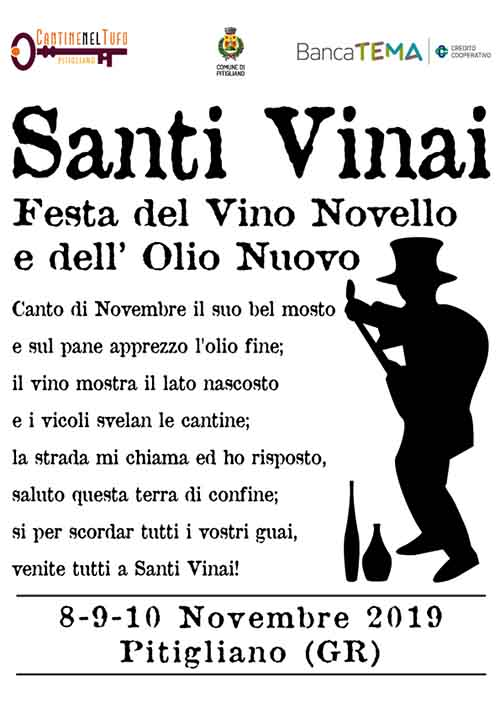 Manifesto Santi Vinai 2019 a Pitigliano - Festa del Vino Novello e dell'Olio Nuovo