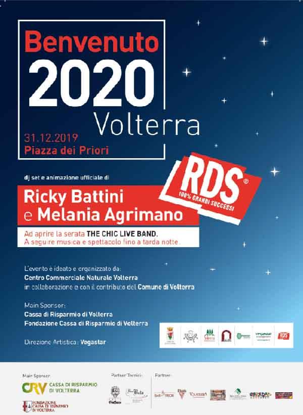 Manifesto Capodanno a Volterra 2020 - Piazza dei Priori 31 Dicembre 2019