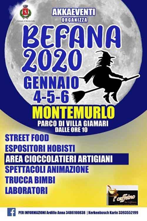Manifesto Festa della Befana a Montemurlo 2020 - Parco di Villa Giamari