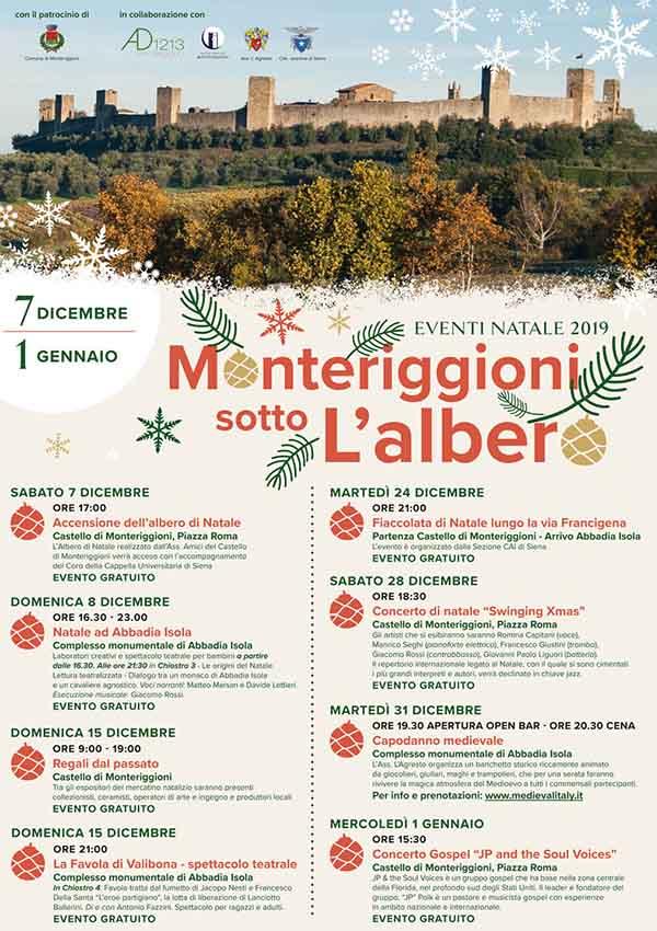Manifesto Programma Natale a Monteriggioni 2019 - Monteriggioni sotto l'Albero
