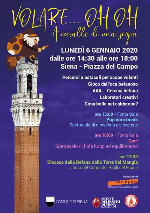 Manifesto Befana in Piazza del Campo a Siena 2020