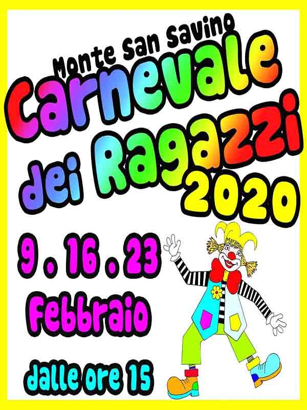 Manifesto Carnevale dei Ragazzi a Monte San Savino 2020