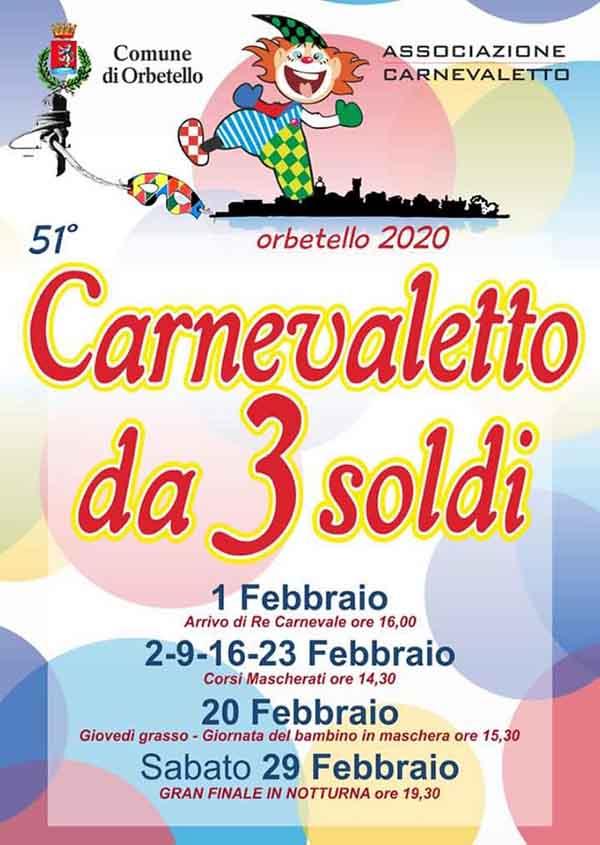 Manifesto Carnevaletto da 3 Soldi 2020 ad Orbetello