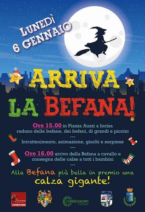 Manifesto Festa della Befana ad Incisa Valdarno 6 gennaio 2020