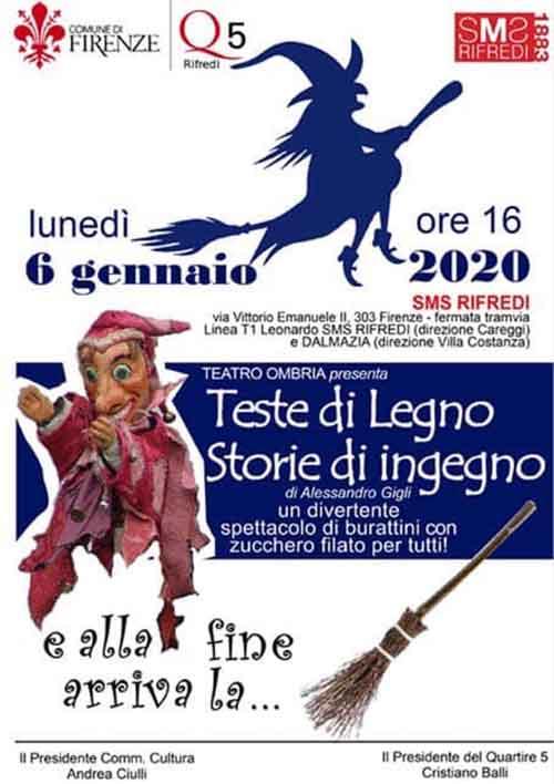 Manifesto La Befana a Firenze in Piazza Dalmazia 2020