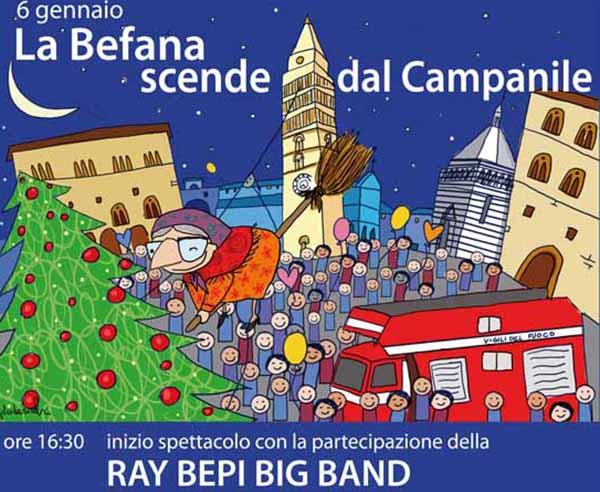 Manifesto La Befana scende dal Campanile a Pistoia 2020 - Piazza del Duomo 6 Gennaio