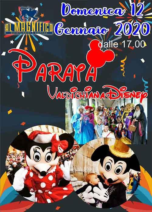 Manifesto Parata Disney ad Arezzo presso il Cinema Al Magnifico - 12 Gennaio 2020
