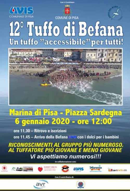 Manifesto Tuffo della Befana 2020 a Marina di Pisa