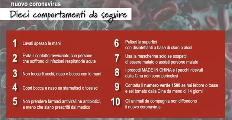 10 regole per combattere la diffusione del Coronavirus