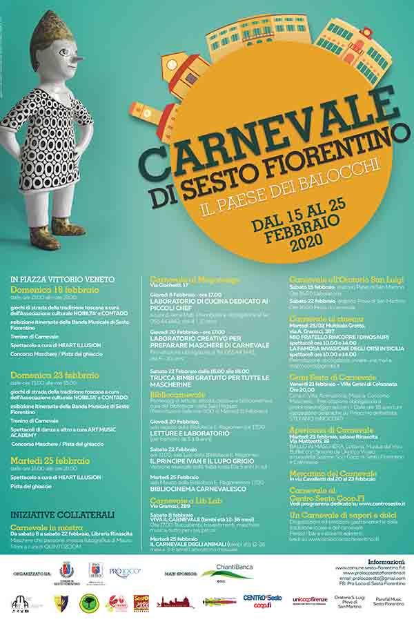 Locandina Carnevale a Sesto Fiorentino 2020 - Toscana