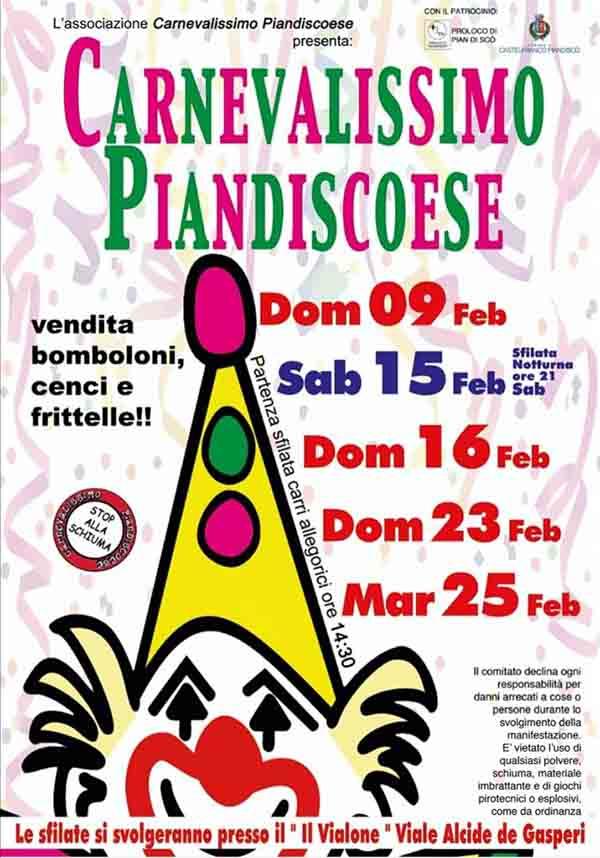 Manifesto Carnevale Piandiscoese 2020 - Castelfranco e Pian di Scò