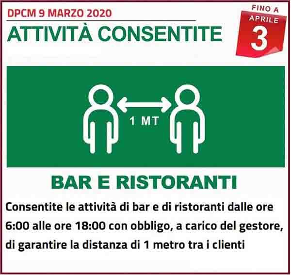 Disposizioni DPCM 9 Marzo 2020 - Attivita Bar e Ristoranti Consentite