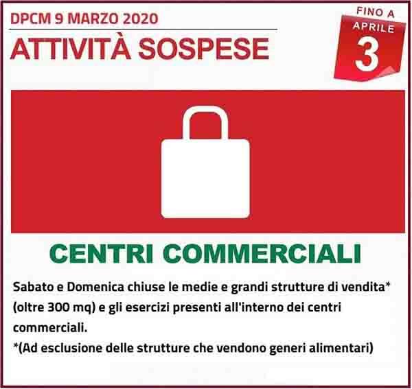 Disposizioni DPCM 9 Marzo 2020 - Attivita Centri Commerciali Spospese